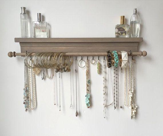 Jewelry Organizer Hanging Jewelry Shelf by TimberRidgeShop