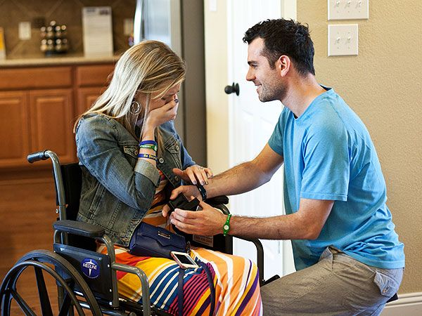 See the video! Rebekah Gregory and Pete DiMartino, who were gravely injured in last April's Boston Marathon bombing, were standing together, exchanging vows in front of family and friends who at one time had worried this day might never come.