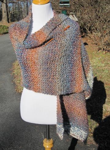 Blue Striped Knit Shawl  #PoppyWear $40