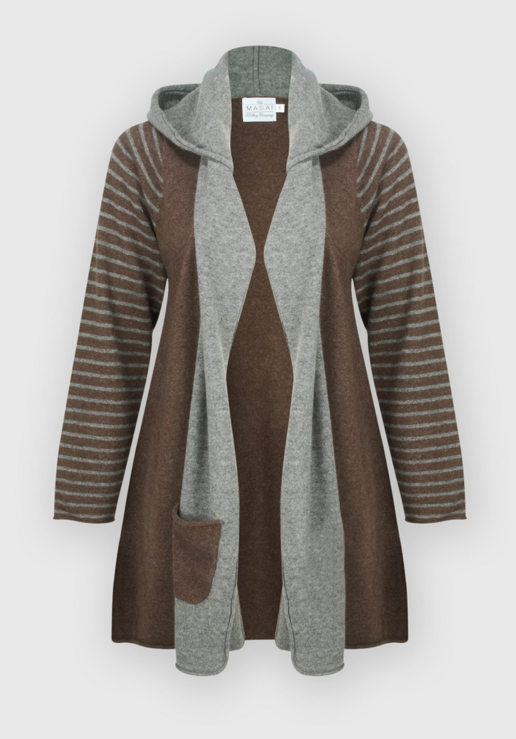 Masai Clothing Lara Hooded Cardigan (Cocoa) at Gemini Woman