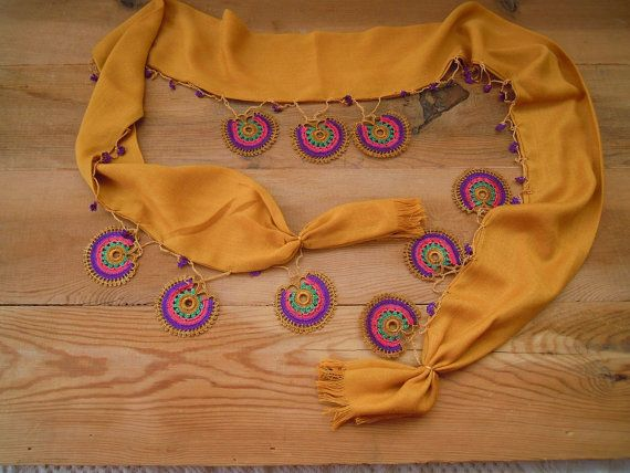 ochre yellow scarf with multicolored crochet by PashaBodrum