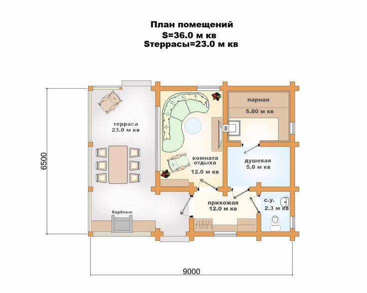 Проект бани клееный брус - 59 кв.м.