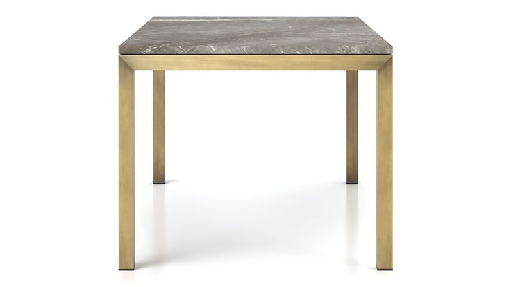 Parsons Grey Marble Top/ Brass Base Dining Tables | Crate and Barrel