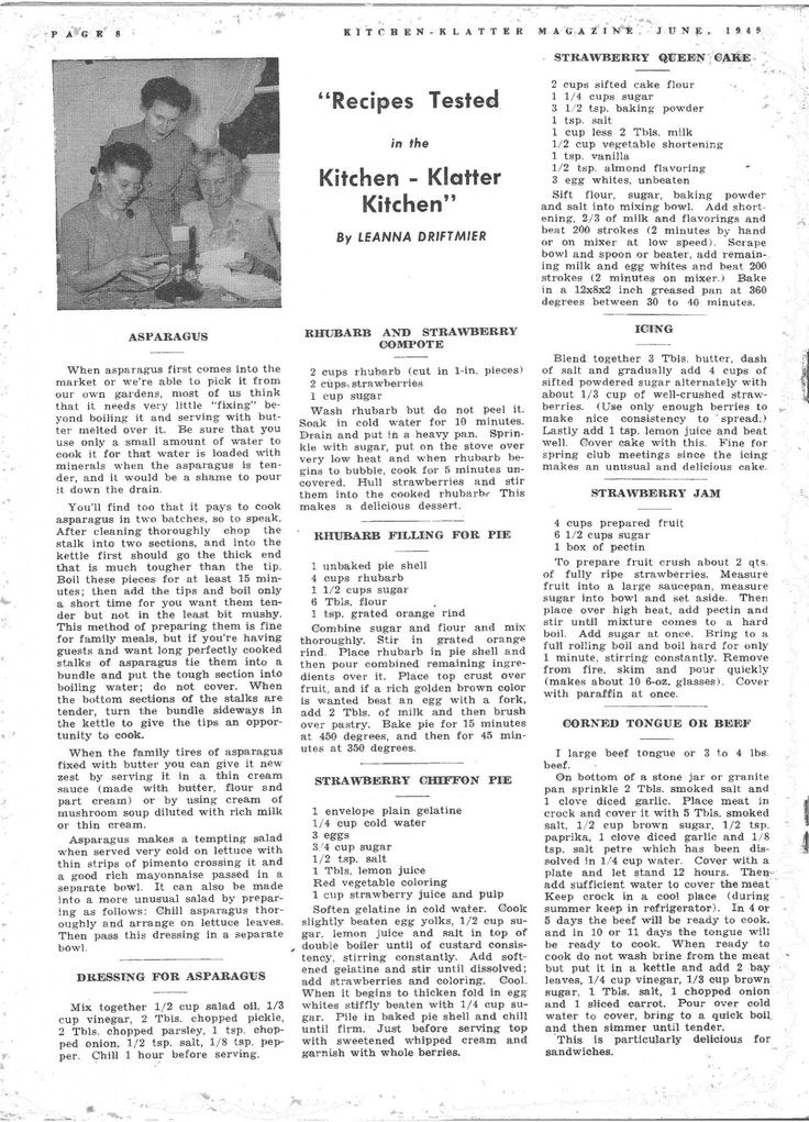Kitchen Klatter Magazine, June 1949 - Asparagus, Dressing for Asparagus, Rhubarb and Strawberry Compote, Rhubarb Filling for Pie, Strawberry Chiffon Pie, Strawberry Queen Cake, Icing, Strawberry Jam, Corned Tongue, Corned Beef