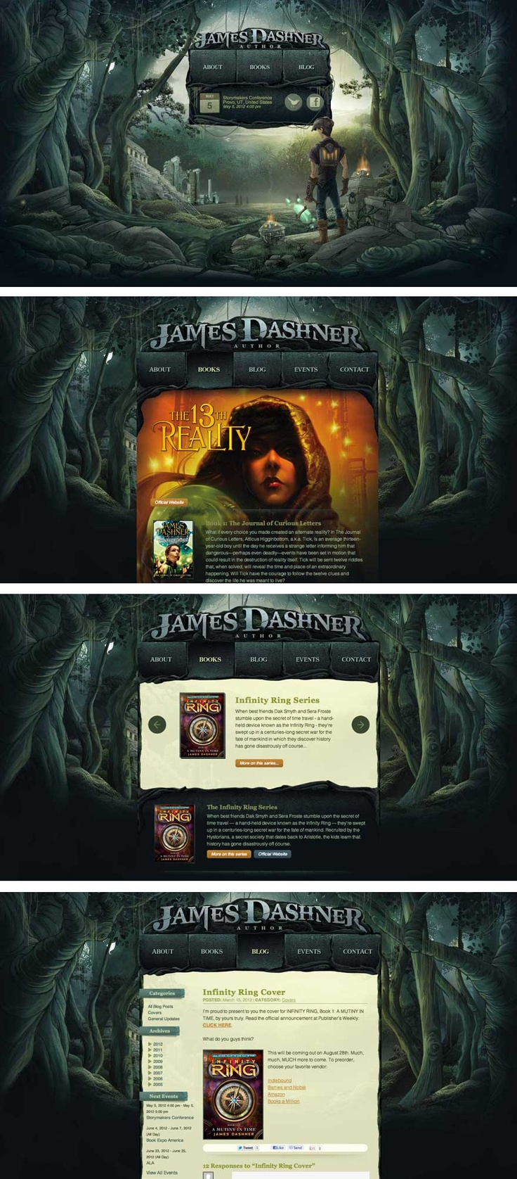 web-design website site author surreal fantasy game illustration graphic   source: http://www.jamesdashner.com/