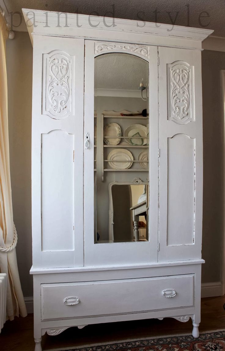 White painted Edwardian wardrobe, shabby chic bedroom