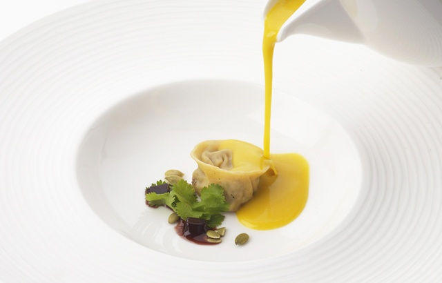 Butternut squash velouté with soya jelly and duck confit tortellini by Phil Carnegie