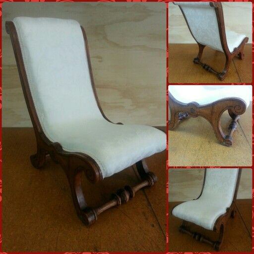 Just recovered this quaint little nursing chair. Nice woodwork and the cloth is actually thermal backed curtain fabric. You would never know. Nice scroll braid to finish it off.