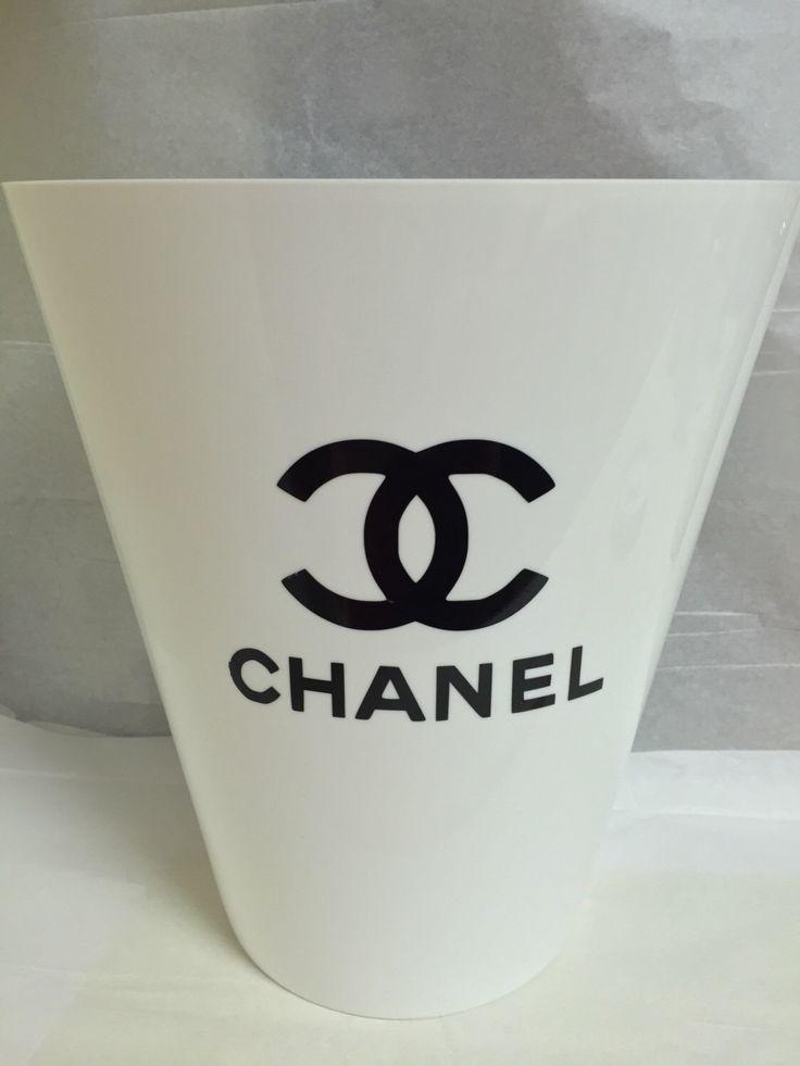 Chanel Designer White Trash Can by SassyByTerri on Etsy https://www.etsy.com/listing/452138948/chanel-designer-white-trash-can
