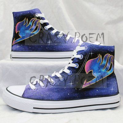 Fairy Tail Anime Shoes with Galaxy Background Hand Painted Shoes