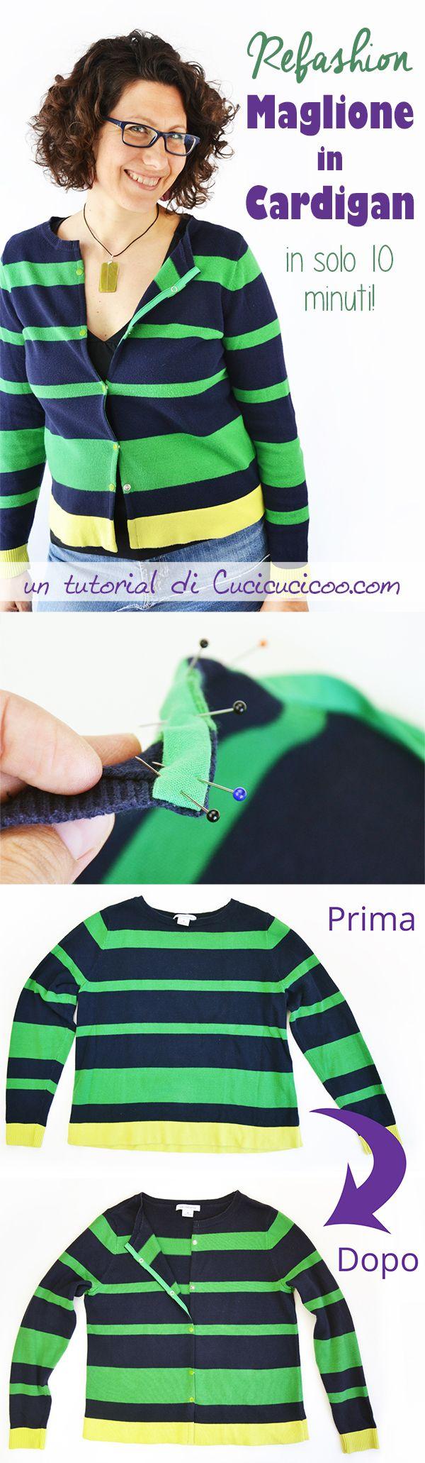 I cardigan sono perfetti per vestirsi a cipolla nelle mezze stagioni. Impara a trasformare un maglione in cardigan con un solo taglio e due strisce di tessuto in solo 10 minuti! È semplicissimo!