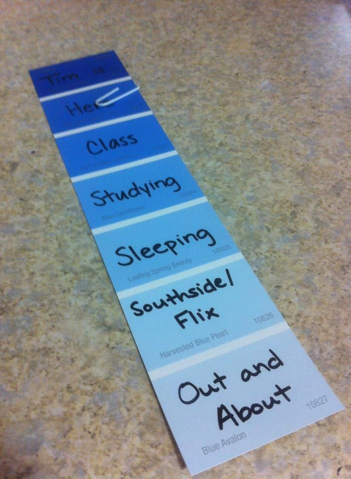 Free paint chips from Walmart + good handwriting = location markers for your residents! Door Decs, Resident Advisor, Resident Assistant, ResLife, Residence Life