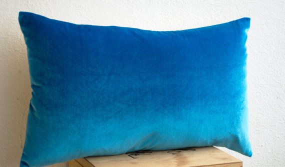 Lush blue velvet oatmeal linen pillow Blue pillows by AmoreBeaute