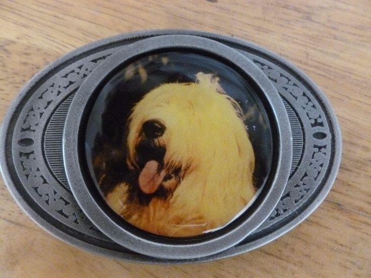 English Sheepdog belt buckle pewter with color photo iinsert ULTIMATE UK  | eBay