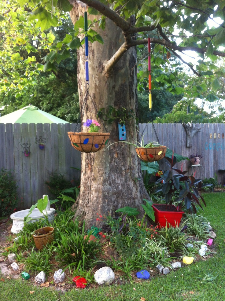 Finished my other hanging basket! Don't throw away old trampoline springs!