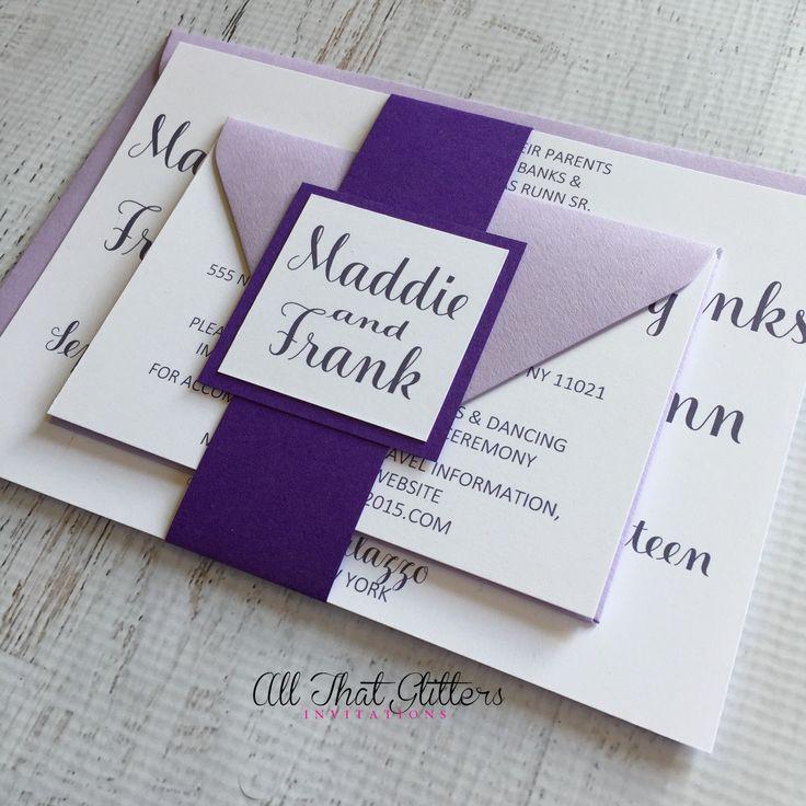 Lavender Wedding Invitations Rustic Wedding By ATGInvitations