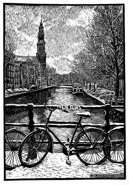 Linocut of Amsterdam by Katarzyna Cyganik. http://www.linoart.eu/. Tags: Linocut, Cut, Print, Linoleum, Lino, Carving, Block, Woodcut, Helen Elstone, City, Buildings, River, Bicycle, Trees, Snow.
