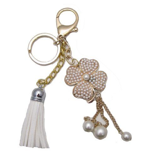 1 Pc Handmade Gold Bling and Pearl Clover Keychain with lobster clasp