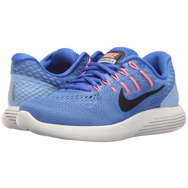 Nike Lunarglide 8 (Medium Blue/Black/Aluminum/Hot Punch) Women's... ($120) ❤ liked on Polyvore featuring shoes, athletic shoes, blue shoes, running shoes, breathable running shoes, nike shoes and black athletic shoes