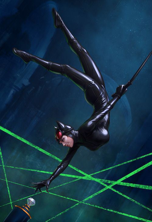 Catwoman and her gravity defying boobs.  Their floating powers are what's keeping her up there like that.