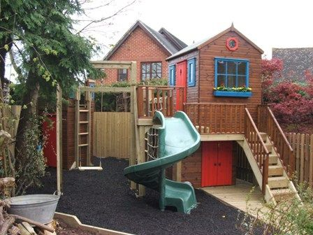 Outdoor Playhouse With Storage Below And Attached Swing Slide Http Atlantadecking