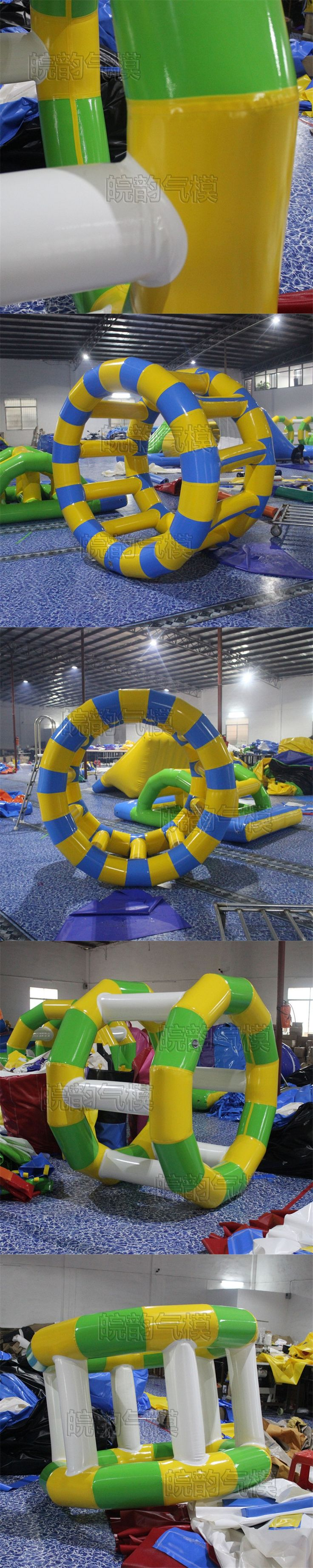 1PC Water Park Games Rental Commercial Inflatable Water Wheel , Water Inflatable Roller With air pump