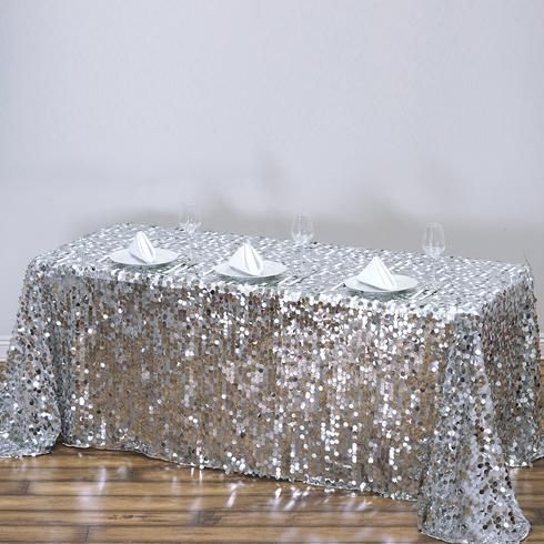 90x156 Silver Big Payette Sequin Rectangle Tablecloth Premium
