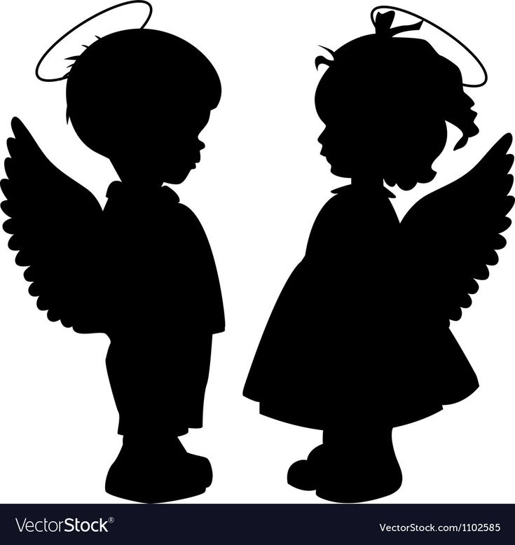 Two black angel silhouettes isolated on white Download a