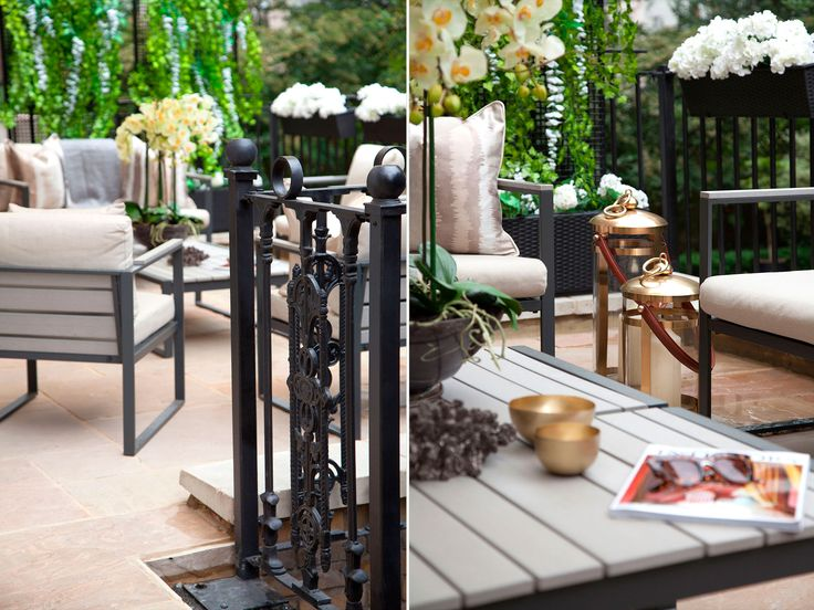 Brass finish lanterns for outdoor terrace