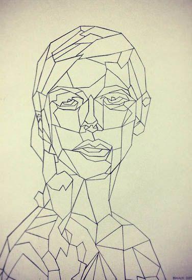 Geometry face - Made by Ragnhild Marie Aston Hoddevik (Rampestreken) with pen - Portrait - Geometric art - Buy your 26$ PRINT A3 here:  https://www.etsy.com/no-en/shop/Rampestreken