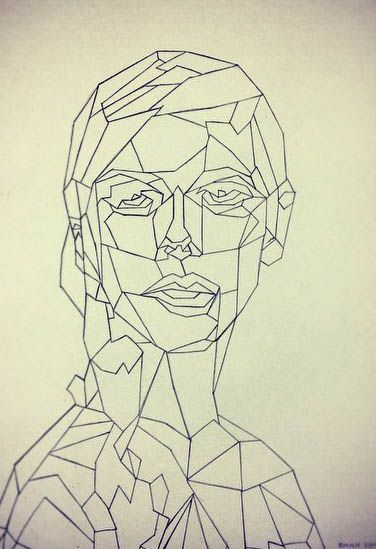 Geometry face - Made by Ragnhild Marie Aston Hoddevik (Rampestreken) with pen - Portrait - Geometric art - Buy your 26$ PRINT A3 here:  https://www.etsy.com/no-en/shop/Rampestreken