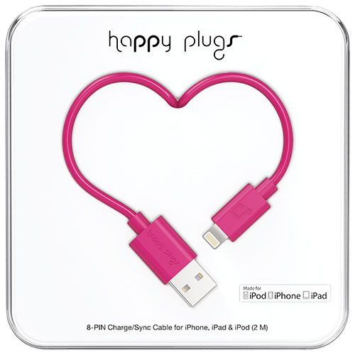 Happy Plugs 2m (6.5 ft.) Lightning/USB Cable - Cerise