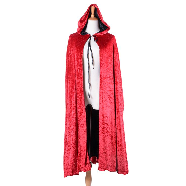 Adult Deluxe Vampire Cape Velvet Magic Witches Wizard Red Hooded Cloak Witchcraft Fancy Dress Halloween Party Costumes One Size #Affiliate