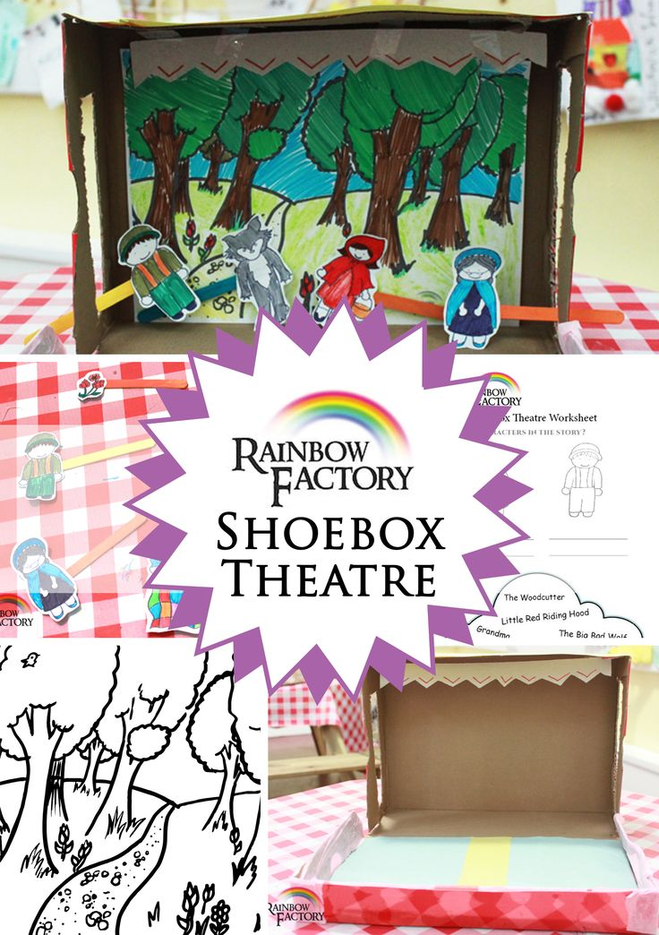 A tutorial from the Rainbow Factory to teach you how to make a Shoe Box Theatre with a Little Red Riding Hood set and characters. It also includes a script, printables and some worksheets for the little imagineers.  #Craft #ArtsandCrafts #Art #Children #Activity #Storybook #FairyTale #RedRidingHood #LittleRedRidingHood #Drama #Puppets #blog #RainbowFactory #SomewhereOverTheRainbowFactory