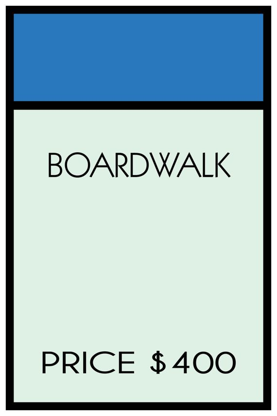 Monopoly boardwalk 18 x 24 custom poster prints any for Custom monopoly board template