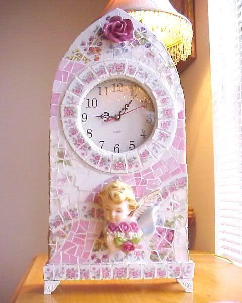 broken china mosaics large mantel clock (sold)