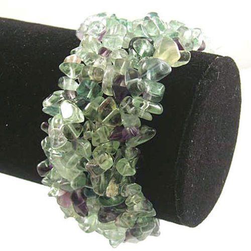 Fluorite Wide Style Chipped Gemstone Bracelet