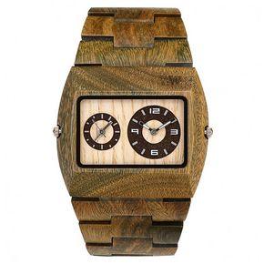 WeWOOD Jupiter army duurzaam houten horloge!   dual-time!