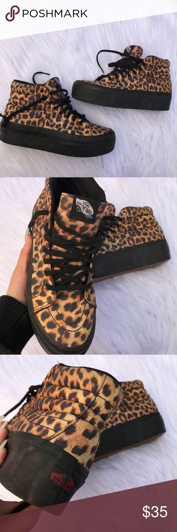 VANS SZ 6 SK8 HI PLATFORM LEOPARD SHOES SNEAKERS Super cute SK8 his Vans Shoes