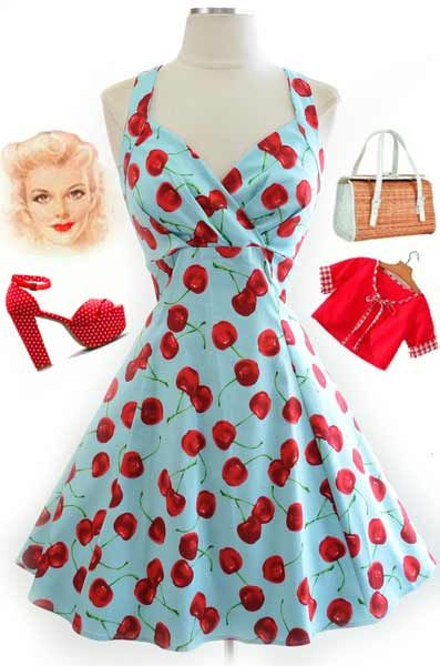 Just restocked at Le Bomb Shop.. cherries on aqua surplice bust pinup sun dress - Only $42 with Free U.S. s/h - Buy it here: http://lebombshop.net/products/surplice-top-halter-sun-dress-cherry-print