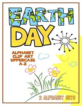 Clip Art:  Earth Day Alphabet Letters (2 Sets: Earth Day and Yellow Paint).  Great for bulletin board headers, worksheets and special projects.