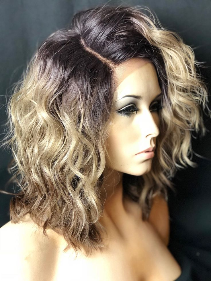 Blonde dark rooted messy bob wig wigs for white women