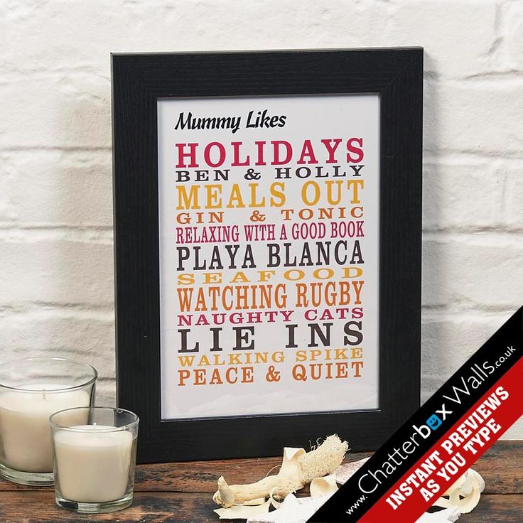 Personalised Likes typographic framed print