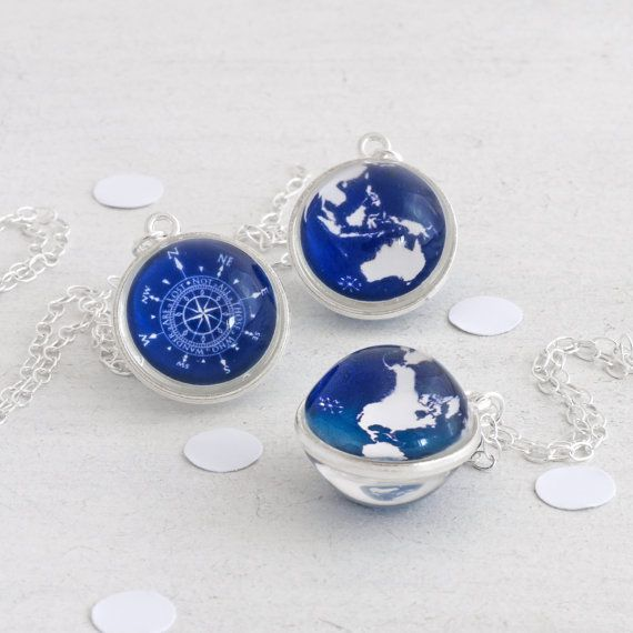 Compass and Globe Necklace - Not all those who wander are lost