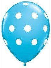 Blauwe ballonnen met witte stippen 10 stuks