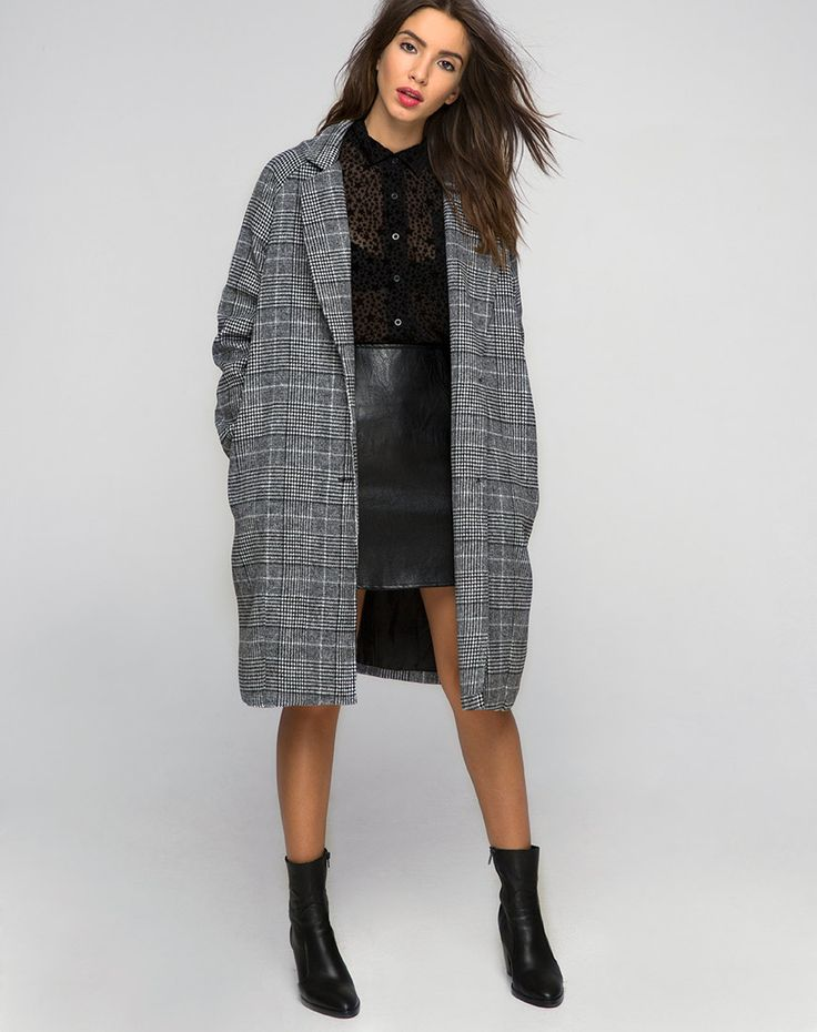 Layer up in style this season and the get the right amount of casual and  cool. Our ernest coat, in a grey tweed features an oversized, slouchy fit  with side ...