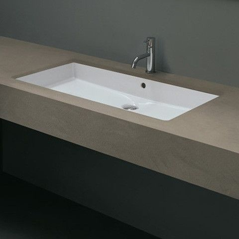 Ceramica Cubo Rectangular Undermount Bathroom Sink With Overflow