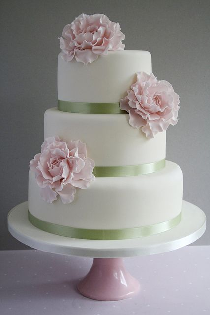 pink and green wedding cakes   & Crumbs – The pink peony wedding cake. A 3-tiered tower with pink ...