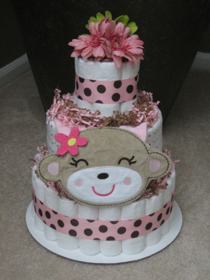 PINK Monkey Girl Diaper Cake for Baby Shower Centerpiece and New Baby Gift - http://www.babyshower-decorations.com/pink-monkey-girl-diaper-cake-for-baby-shower-centerpiece-and-new-baby-gift.html
