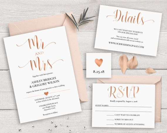 Rose Gold Wedding Invitation Suite Template, Printable Wedding Invitation  Set Mr And Mrs Wedding Invitations Caligraphy Invites